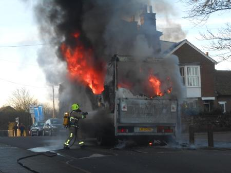 A lorry fire in Town Hill, West Malling