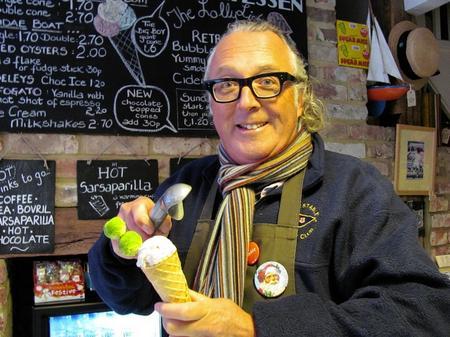 Owner of Sundae Sundae Steve Graham from Whitstable shows off his Brussel sprout icecream